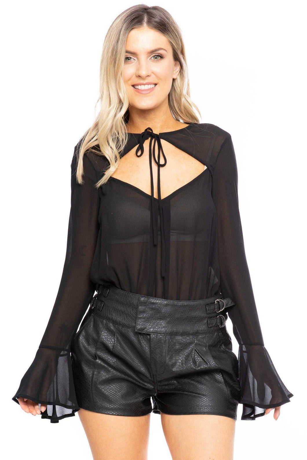 Black Cutout Bell Sleeve Bodysuit - Shopninaruchi
