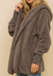 Jenny Steel Grey Faux Fur Jacket
