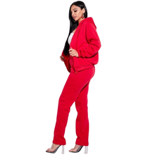 Load image into Gallery viewer, Candy Apple Red French Terry 2 Pc Track Set - Shopninaruchi
