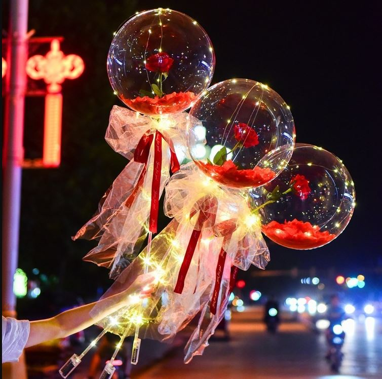 (Romantic Moment)LED Luminous Balloon Rose Bouquet