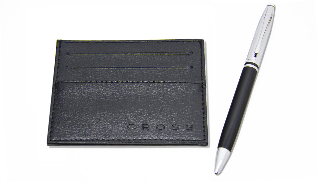 Cross Avitar Black Lacquer Ballpoint Pen + Credit Card Case