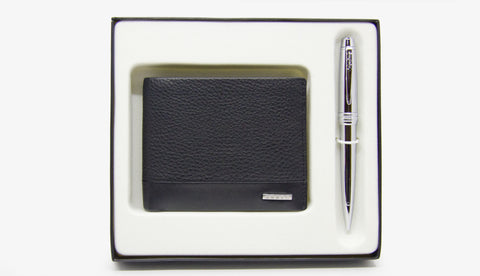 Cross Bailey Chrome Ballpoint + Men's Bifold Coin Wallet (Black)