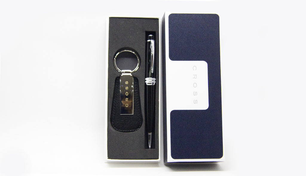 Cross Bailey Black Lacquer Chrome Trim Ballpoint + Key Ring