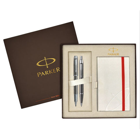 Parker IM Gunmetal Fountain and Ballpoint Pen Set (Includes Free White Notebook)