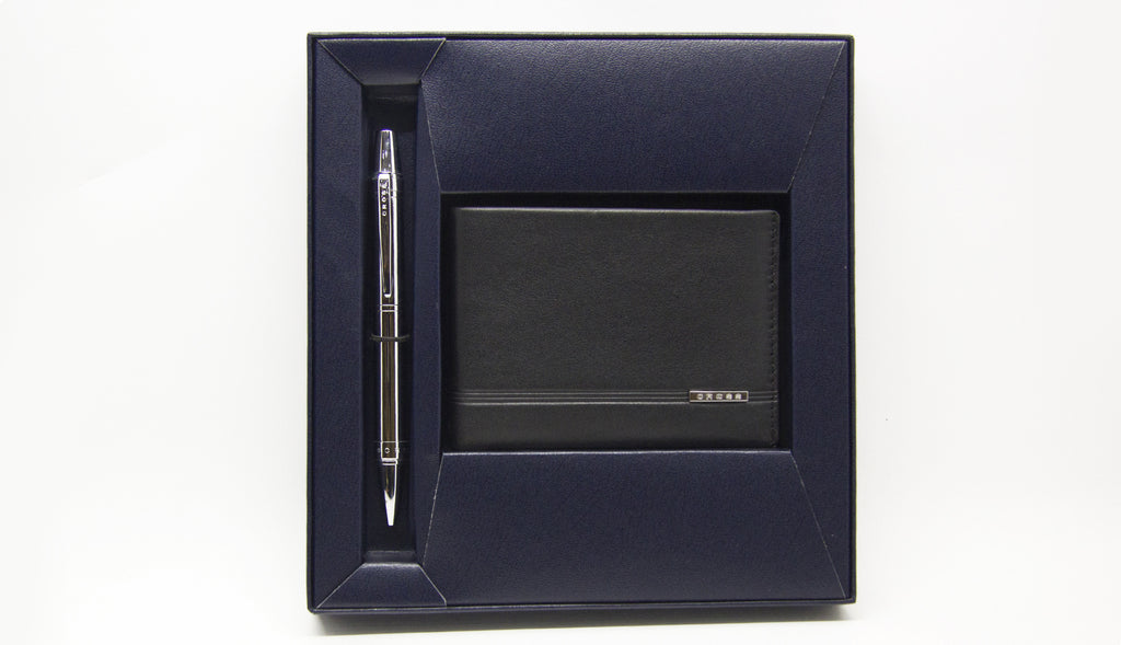Cross Nile Chrome Ballpoint Gift Set +  Slim Bifold Wallet (Black)