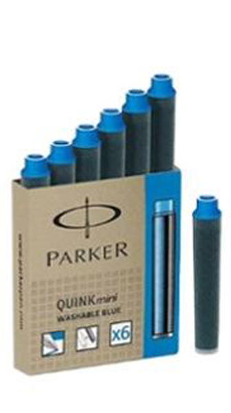 Parker Washable Blue Ink Cartridge (Mini - Pack of 6)