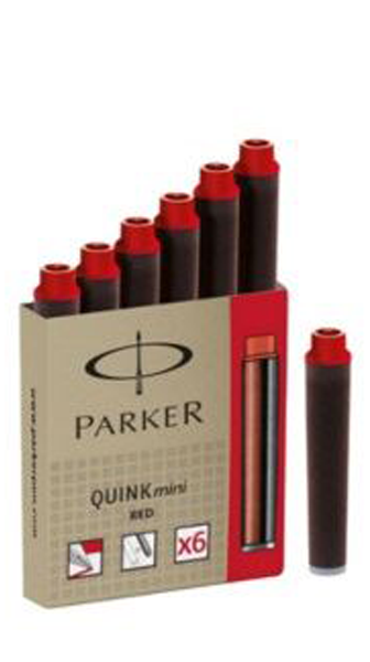 Parker Red Ink Cartridge (Mini - Pack of 6)