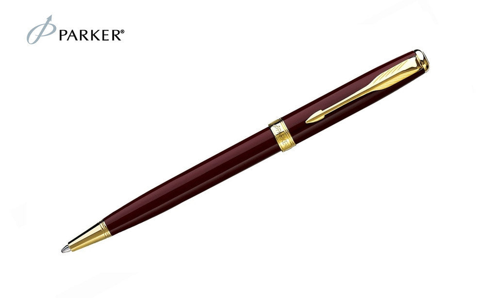 Sonnet - Laque Deep Red Gold Trim Ballpoint Pen