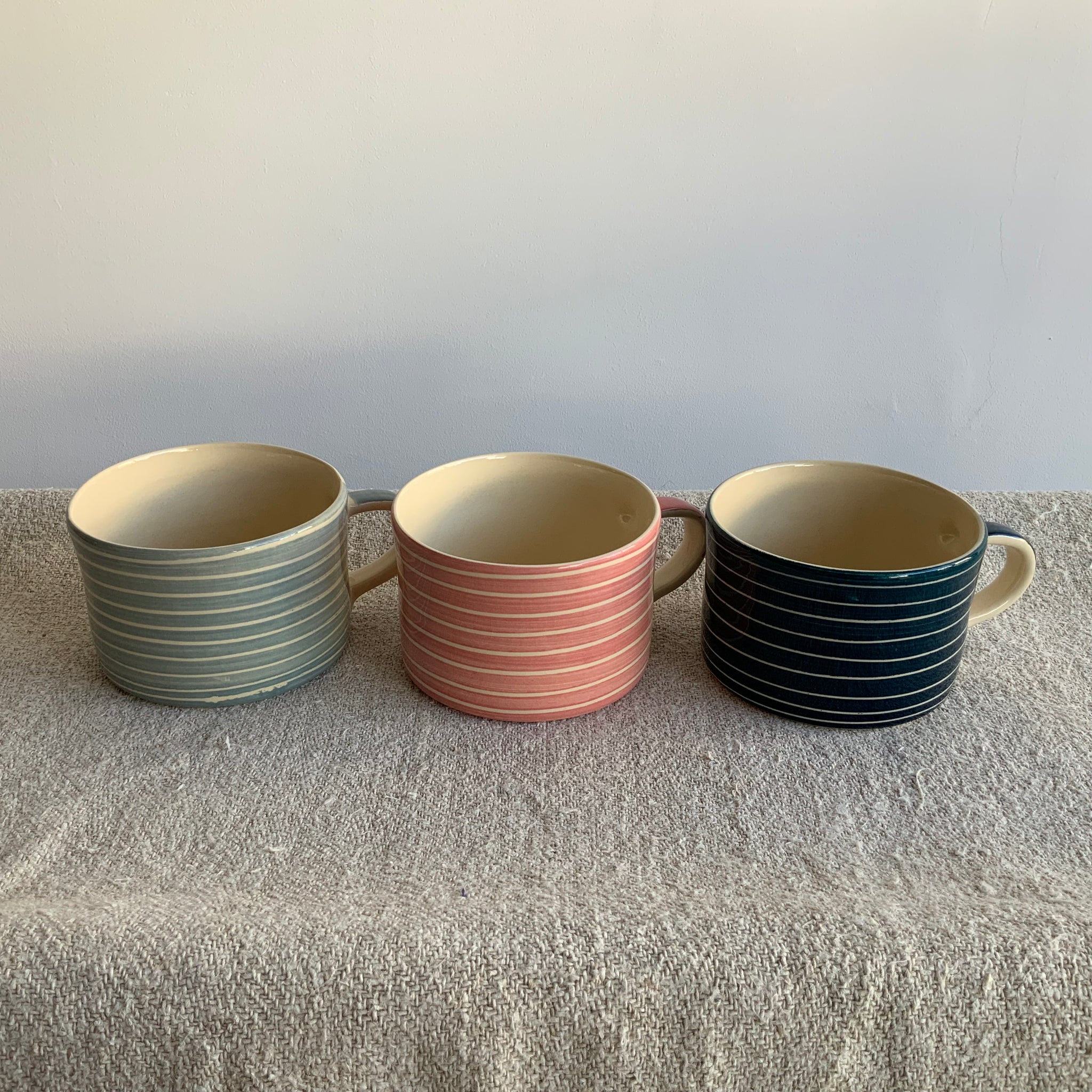 Dove Grey Musango sgraffito stripe mug (left)