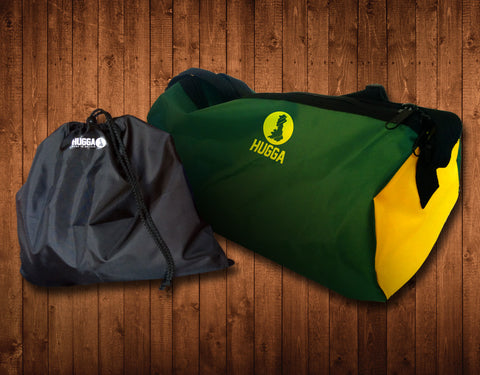 GREEN & YELLOW HUGGA HOLDALL, WITH FREE WET KIT BAG