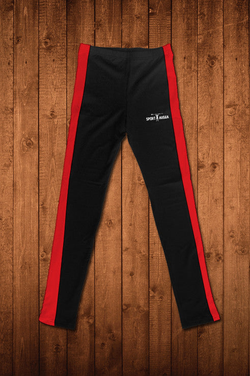 HUGGA COMPRESSION LEGGINGS - BLACK & RED - HUGGA Rowing Kit