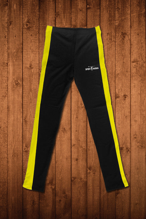 HUGGA COMPRESSION LEGGINGS - BLACK & YELLOW - HUGGA Rowing Kit
