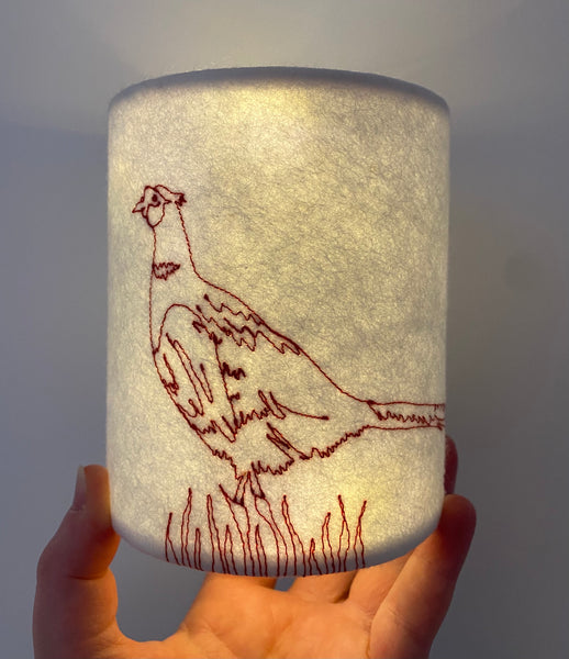Pheasant embroidered lantern