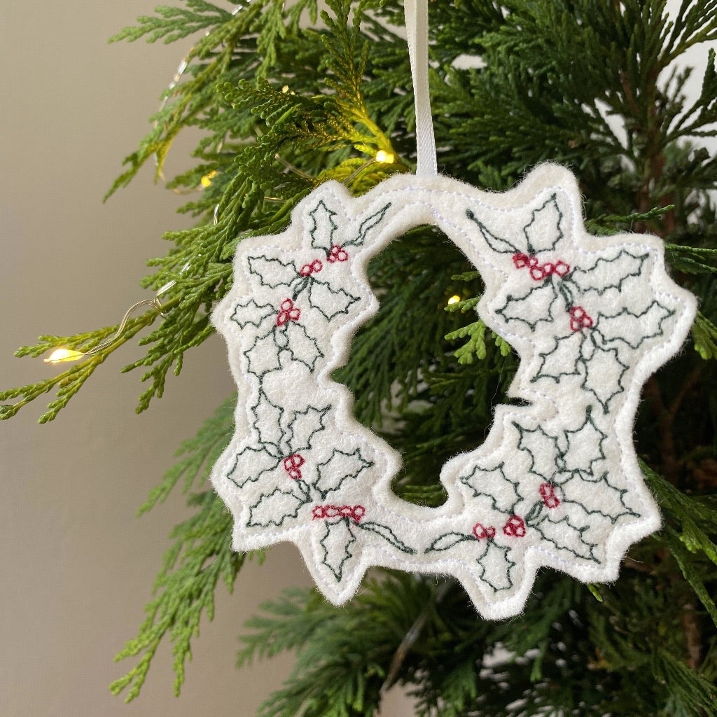 Christmas Holly Wreath Card and Decoration