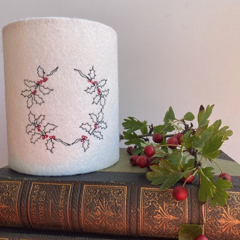 Christmas Holly Wreath Lantern