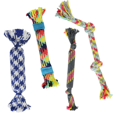 rocket and rex rope toys have rubber and crackle for extra chewing fun