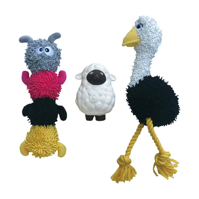 rocket and rex 3 pack chew toy set includes a rubber sheep with a squeaker, stuffing free chicken rope toy and a microfiber caterpillar with a tennis ball in head