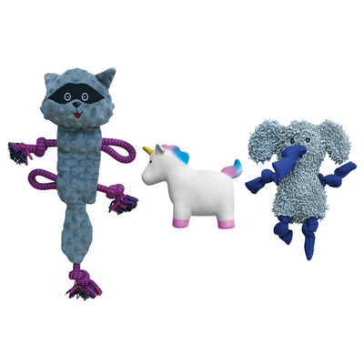 rocket and rex 3 pack chew toy set includes a rubber unicorn with a squeaker, stuffing free raccoon rope toy and a microfiber elephant