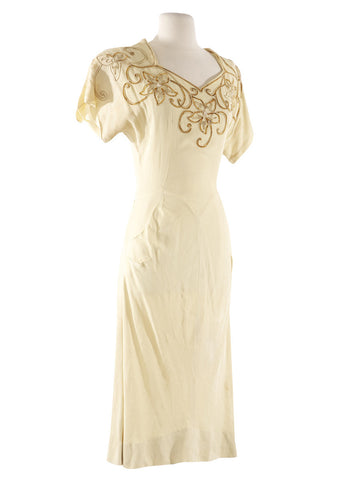 Dark Cream Roberta Beaded Dress - S