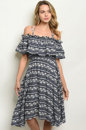 Navy Printed Dress