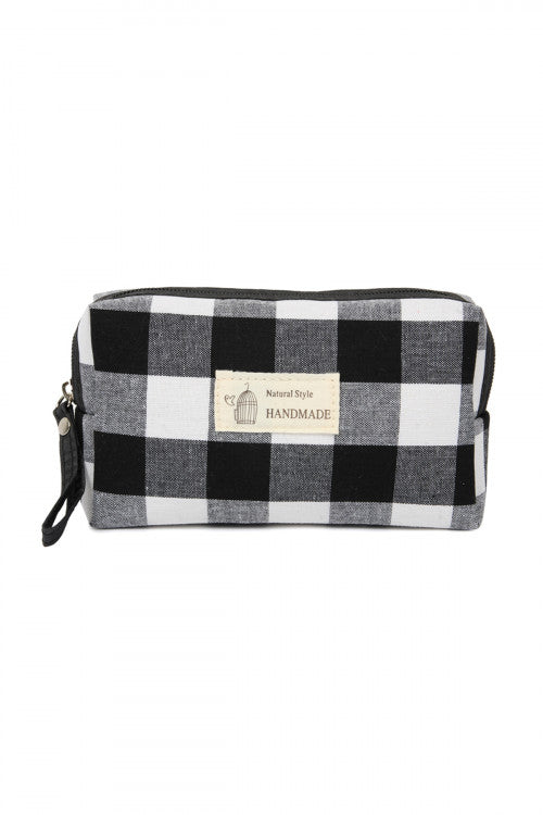 Plaid Zipper Cosmetic Pouch