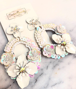 Sequined white Floral earrings