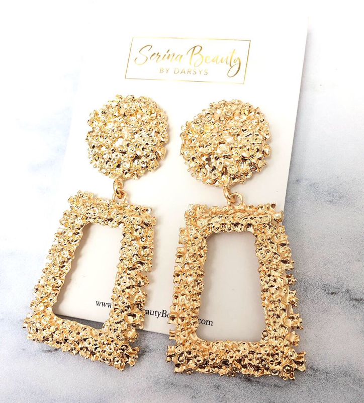 Gold Brick Earrings