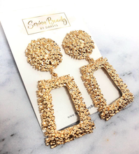 Load image into Gallery viewer, Gold Brick Earrings