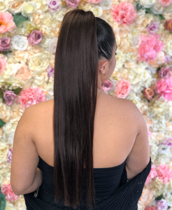 Human Hair Extensions Ponytail in Natural Brown (#2)