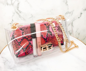 Clear  bag multicolor pink
