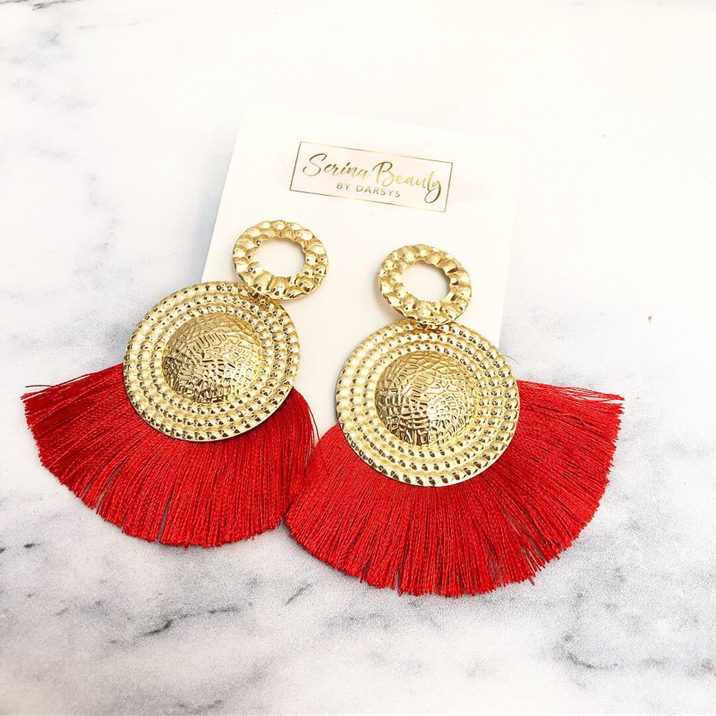 Lady in Red Tassel Earrings