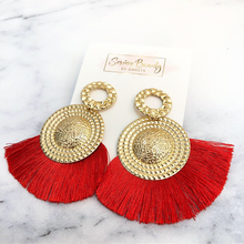 Load image into Gallery viewer, Lady in Red Tassel Earrings