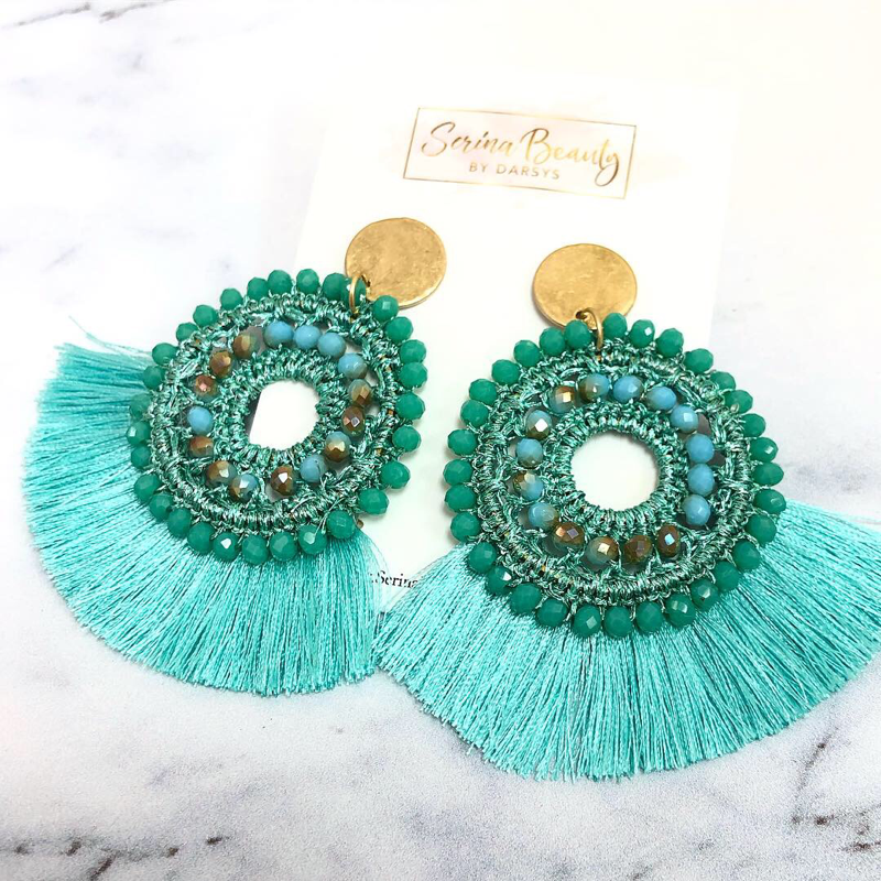 Teal Tassel Earrings