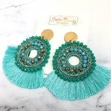 Load image into Gallery viewer, Teal Tassel Earrings