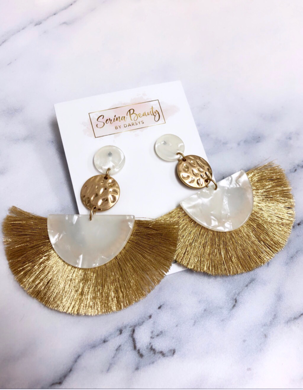 Gold and White Tassel Earrings