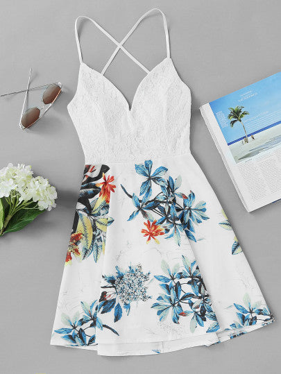 Criss Cross Back Lace Tropical Print Dress