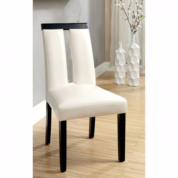 Contemporary Side Chair, Black Finish, Set Of (2)