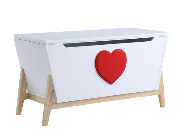 "16"" X 37"" X 20"" White Red Wood Youth Chest"