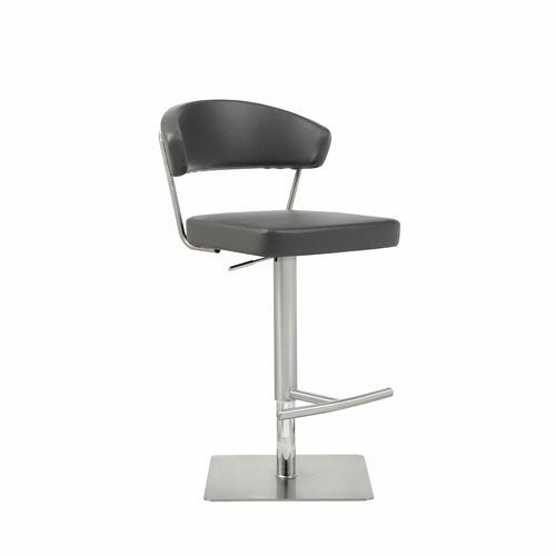 "20"" X 22"" X 34-44"" Dark Stainless Steel Bar Stool"