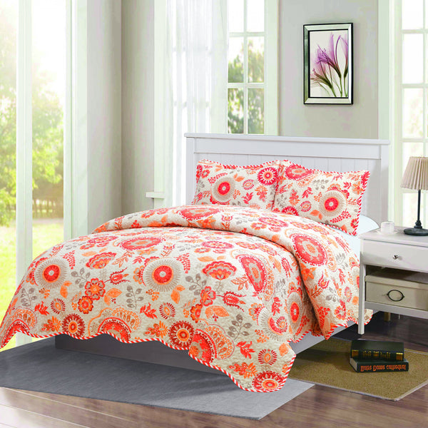Monica - 3 Piece Quilt bedspread Set queen and king size - Orange