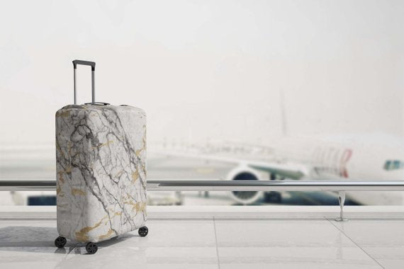 Luggage Suitcase Cover Marble Print Travel