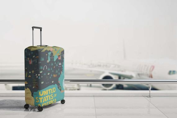 Luggage Suitcase Cover USA Map United States