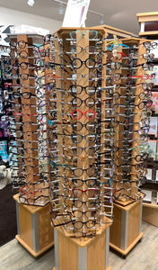 Glasses are available in store only at this time