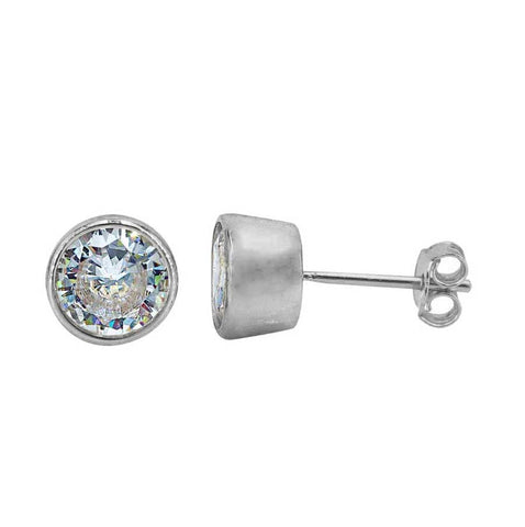 Earrings - .925 SS - CZ Bezel Studs