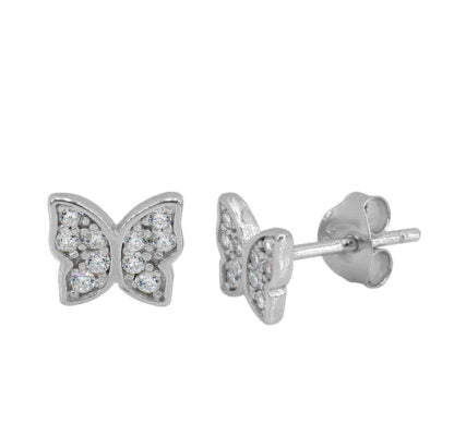 Earrings - .925 SS - CZ Butterfly Studs