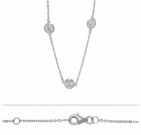 Necklace - .925 SS - chain with CZ