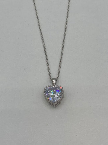 Necklace - .925 SS - heart with CZ