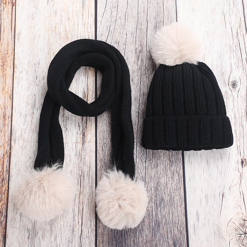 2-piece Casual Solid Hat Scarf Sets