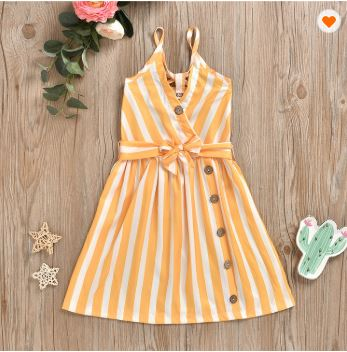 Yellow Mallory Striped Dress - Kiley Bee Children's Boutique