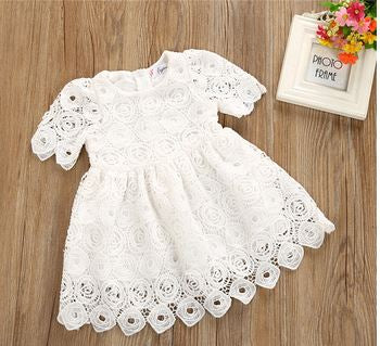 Lacy Short Sleeve Lace Dress - Kiley Bee Children's Boutique